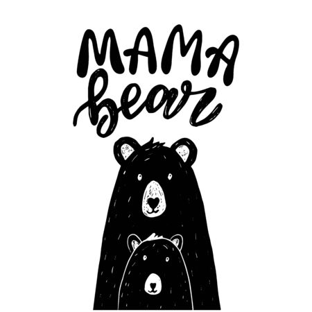 Scandinavian mama bear illustration wit lettering. Black shape silhouette sign.