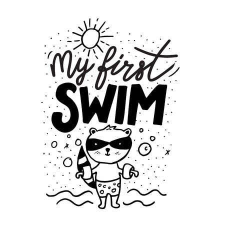 Cartoon baby milestone cards lettering for print design. My first swim sign Çizim