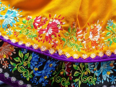 Cuenca, Ecuador - November 3, 2018: Close up of the lower embroidered edge of skirts, traditional womens clothing for cholas cuencanas for region Azuay and city Cuenca Stock Photo