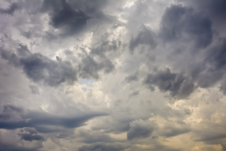 View of the sky with beautiful dangerous clouds before the storm. A fully clouded sky with clouds on a hot day.