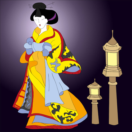 japanese kimono: Hand drawn Japanese woman wears traditional japanese kimono and traditional japanese lantern on dark background. Can be used for decorating of invitations, greeting cards. Illustration