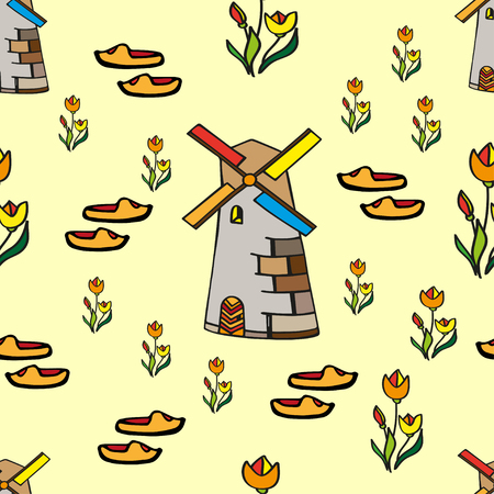 wooden shoes: Seamless with windmill, traditional Dutch wooden shoes and tulips. Hand drawn vector illustration