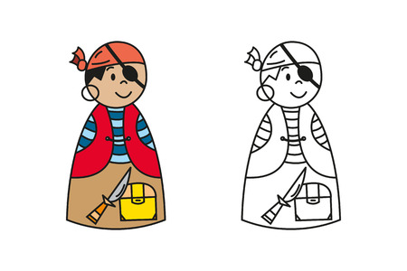 toy chest: Set of colored and outline cartoon pirate for preschool children coloring book. Illustration