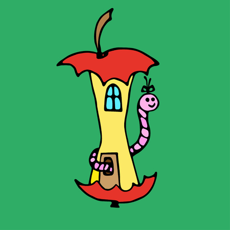 earthworm: Apple house for earthworm on green background. Hand drawn outlines and contours. Illustration