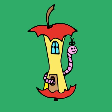 lombriz de tierra: Casa de Apple para las lombrices de tierra en el fondo verde. Dibujado a mano contornos y curvas de nivel. Vectores
