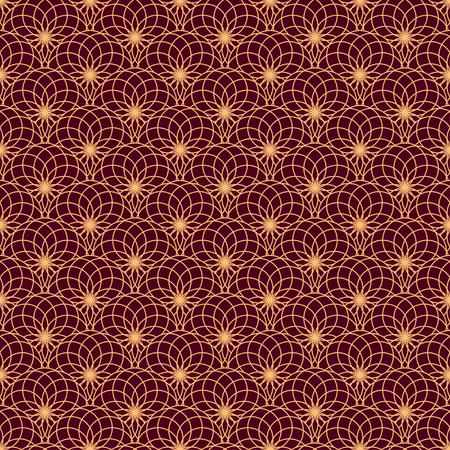 maroon background: Floral seamless pattern on maroon background. Geometric stylish background. Pattern can be used for fabric, wallpaper or wrapping paper.