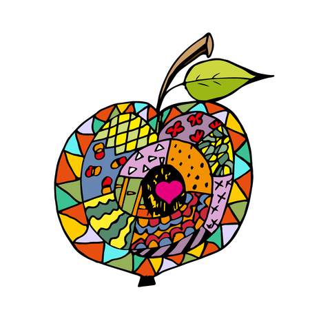 contours:  colorful apple, hand drawn outlines and contours on white background.