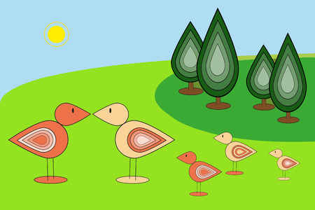 green park: Green park and birds. Perfect vector illustration for children books and postcard. Illustration