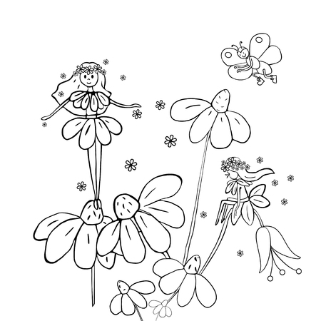 butterfly myth: Hand drawn flower fairies on white daisies. Black and white vector illustration.