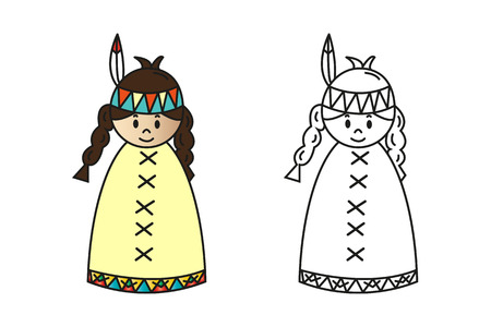 pocahontas: Set of colored and outline cartoon squaw for preschool children coloring book. Illustration
