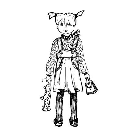 Hand Gezeichnet Mädchen Mit Einem Teddybär Und Eine Handtasche. Es ...