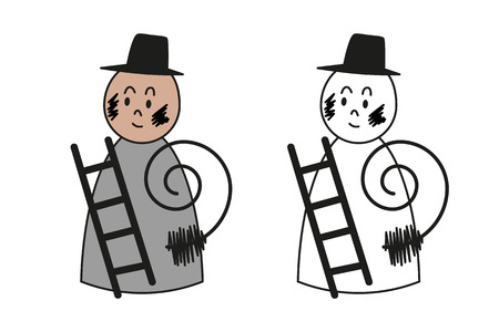 Set of colored and outline cartoon chimney sweep for preschool children coloring book.