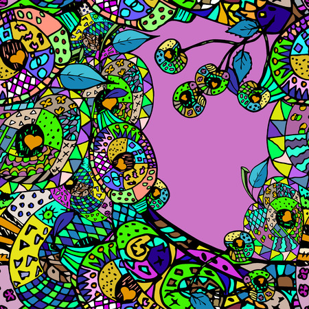backgraound:  colorful abstract backgraound with cool colors.Hand drawn outlines and contours.