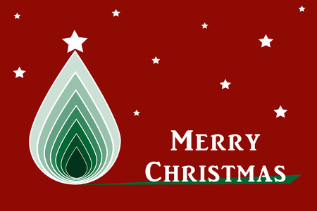 greeting card background: Christmas tree greeting card on red background