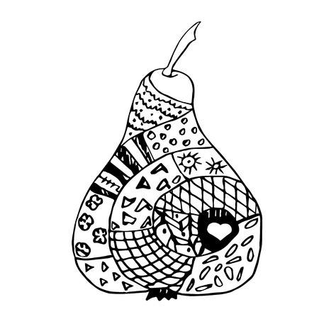 abstract fruit: Zentangle black and white pear, hand drawn outlines and contours. Illustration