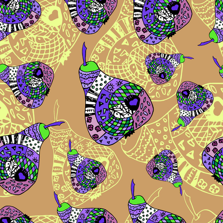 biege: Zentangle colorful pear on biege background, seamless pattern. Pattern can be used for fabric, wallpaper or wrapping paper.