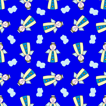 clothes cartoon: Seamless pattern with cartoon angel on blue background. Pattern can be used for fabric, web wallpaper or wrapping paper.