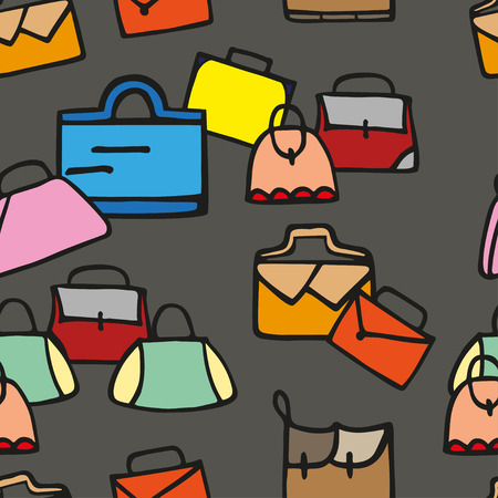 leather goods: Hand-drawn colorful woman bags seamless pattern.  Illustration