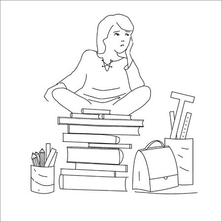 satchel: Hand Drawn Cartoon Student Sitting on Books. Black outline on white background. Perfect illustration for children books, cover, brochure.