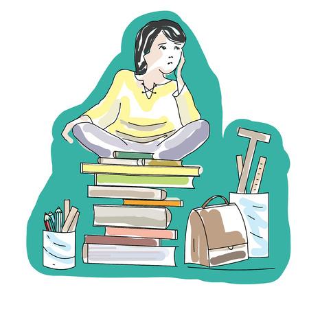 brawn: Hand Drawn Cartoon Student Sitting on Books. Perfect illustration for children books, cover, brochure. Illustration