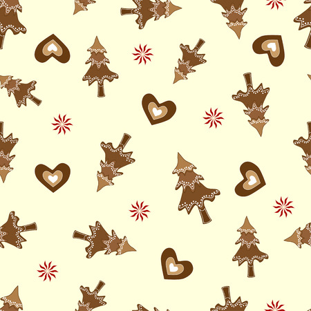 Gingerbread Christmas vector seamless pattern on yellow background. Vector seamless pattern can be used for fabric, wallpaper, web background or Christmas wrapping paper