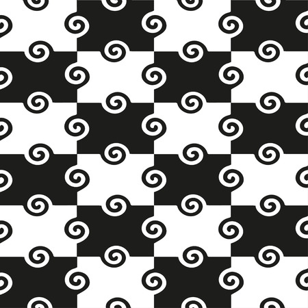 black swirls: Geometric seamless pattern with black swirls. Vector seamless pattern can be used for fabric, wallpaper, web background or wrapping paper