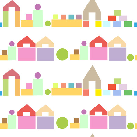 toy blocks: Colorful seamless pattern with houses from wooden children building toy blocks on white background. Can be used for kids wallpaper, web page background, wrapping paper, cover design