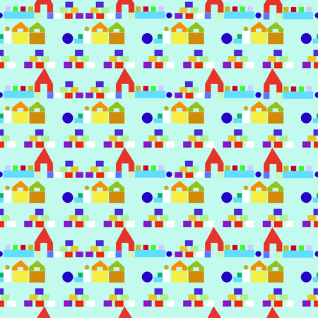 toy blocks: Colorful seamless pattern with houses from wooden children building toy blocks on green background. Can be used for kids wallpaper, web page background, wrapping paper, cover design. Illustration