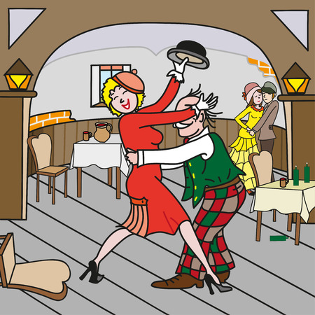 Voluptuous woman dancing with a man in the pub. Perfect vector illustration for books, posters, printing on fabric.
