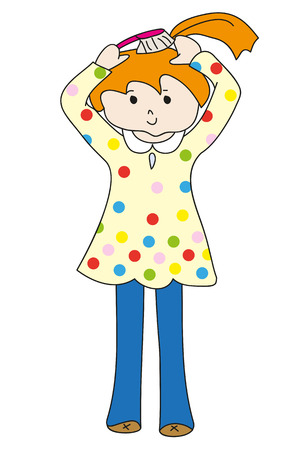 redhead girl: Little redhead girl in yellow dress with hairbrush. Perfect vector illustration for greeting cards, children books, printing on T-shirts.