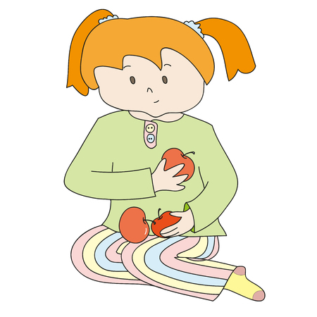 redhead girl: Little redhead girl in the green shirt with red apples. Perfect vector illustration for greeting cards, children books, printing on T-shirts.