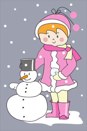 redheaded: Redheaded girl in pink coat with snowman. Perfect vector illustration for greeting cards, children books, printing Illustration