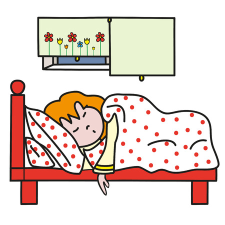 duvet: Sleeping redhaired girl in red cot. Perfect vector illustration for greeting cards, children books.