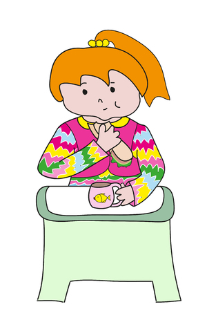 redheaded: Redheaded girl with pink cup snack at the green table. Perfect vector illustration for greeting cards, children books.