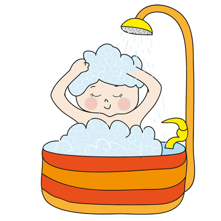 showering: Girl showering in a bathtub with foam. Perfect vector illustration for greeting cards, children books.