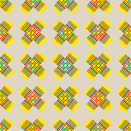crosses: Abstract colorful crosses vector seamless pattern on beige background.