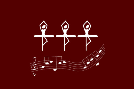merry dancers: Trio of ballerinas on maroon background. Perfect vector illustration for greeting cards, books, printing on T-shirts, invitation, poster, advertising