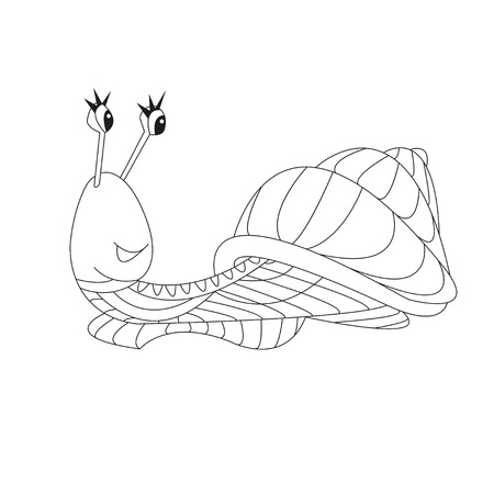 dna smile: Hand drawn vector outline snail. Can be used for illustrations children books, printing on T-shirts, children furniture, wallpaper, postcards, kindergartens