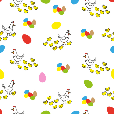 huevo caricatura: polluelos y huevos de pascua de colores sobre fondo blanco. Se puede utilizar como papel de regalo, elemento de dise�o