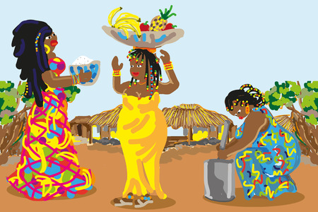 bronzed: Black women in colorful dress with beads in her hair. Hand-drawn vector illustrations for books, postcards, posters, advertising in tourism