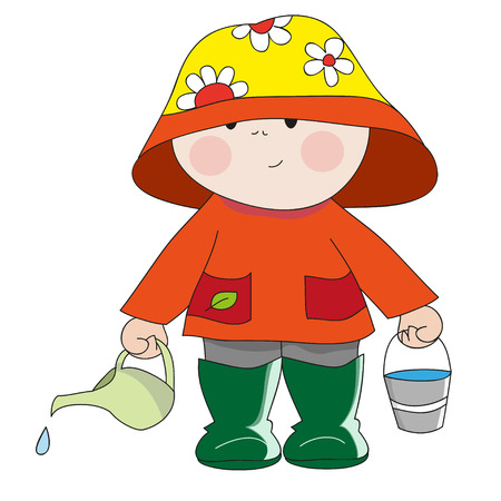 wellies: Hand-drawn gardener with green jug for watering flowers. Perfect vector illustrations for childrens books, printing on T-shirts, posters, design element, the pictures to kindergarten Illustration
