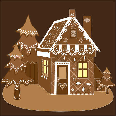 gingerbread house: Decorated Christmas gingerbread house. Perfect vector illustration for books, Christmas postcards.