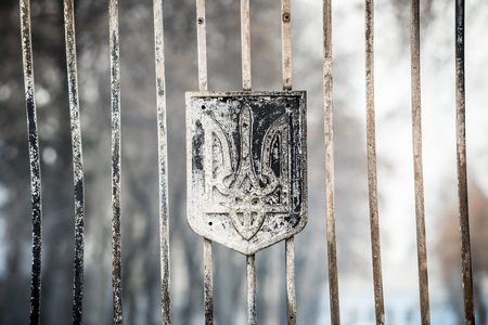 battalion: Kiev, Ukraine - 02 February 2015: Burned coat of arms of Ukraine as a symbol at the entrance of the General Staff of the Ministry of Defense of Ukraine during a protest rally in front of Ukrainian Ministry of Defence in Kiev, Ukraine. According to local m Editorial