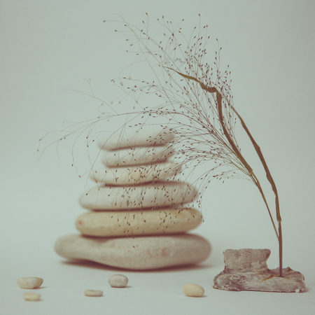 Spa still life with stacked of stone with a beautiful branch, selective focus, toned image 版權商用圖片