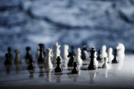 Chess strategy concept is on the bright background. Abstract background of business concept . Selective focus shallow depth field.