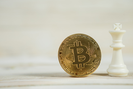 Bitcoin cryptocurrency concept bitcoin strategy with king chess