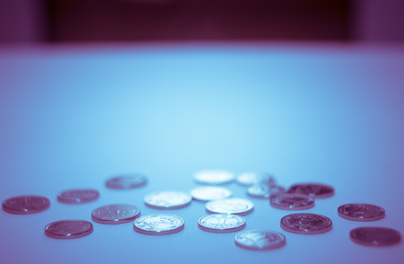 Stack of coins black and white macro. Ukrainian coins , Concept of saving money 版權商用圖片