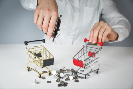 Hand holding a coin with pile of coin in the shopping cart on white and grey background. Symbolic photo for purchasing power and consumption 免版税图像