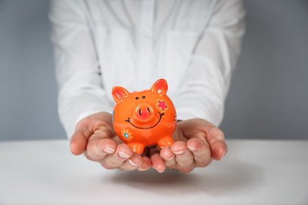 Hand support Piggy Bank saving money concept. Piggy Bank, Savings, Currency. Standard-Bild - 115630609