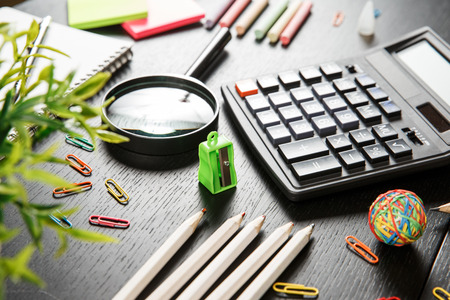 Back to school concept. School and office supplies on office table. Male or boyish still life on the topic of school, study, office work. Stock fotó